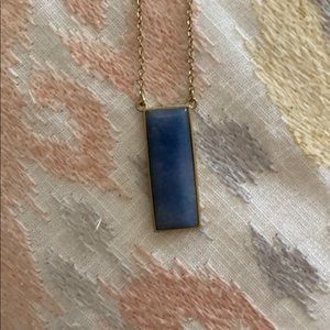 Jewelry - Blue rectangle stone necklace on thin gold chain